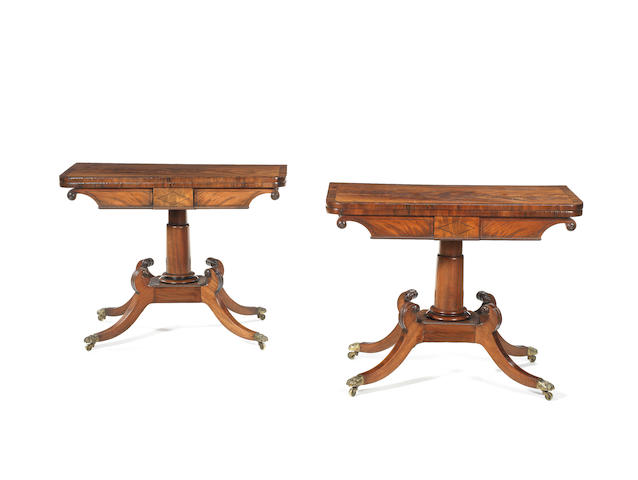 A pair of Scottish Regency mahogany and rosewood crossbanded card tables