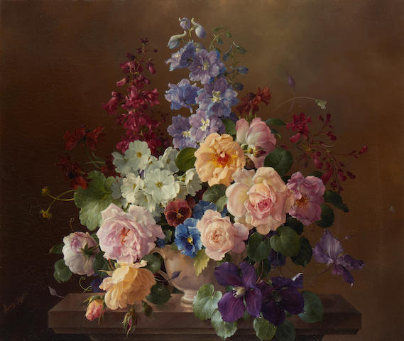 Harold Clayton (British, 1896-1979) Mixed flowers in a vase