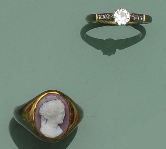 A single stone diamond ring and a hardstone cameo ring   (2)