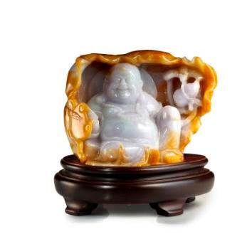 A jadeite Laughing Buddha carving