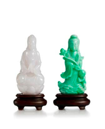 Two jadeite Guan Yin carvings (2)
