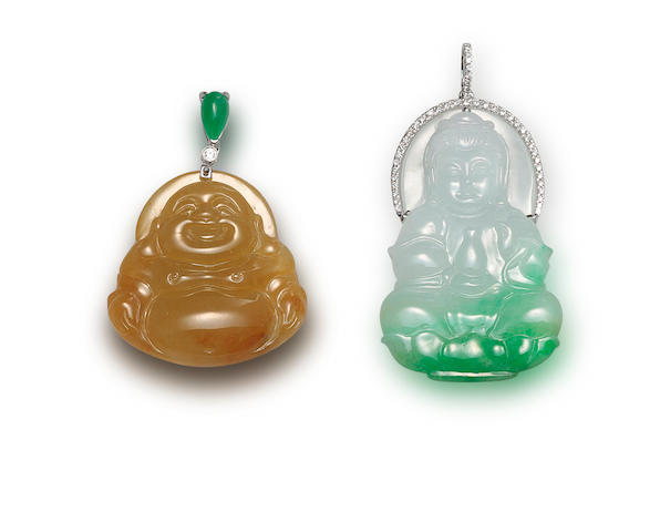 A jadeite and diamond Guan Yin pendant and a jadeite and diamond Laughing Buddha pendant (2)
