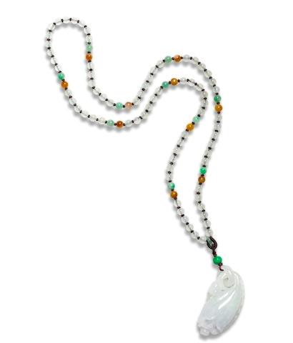 A jadeite pendant necklace