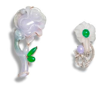 A jadeite and diamond brooch and a jadeite, diamond and rock crystal brooch/pendant (2)