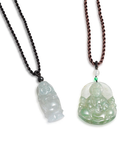 A jadeite Guan Yin pendant and a jadeite Laughing Buddha pendant (2)