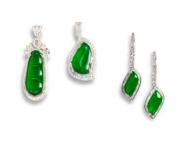 A group of jadeite and diamond jewellery (3)