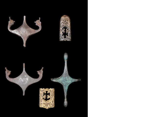 A group of sword hilts, 2 Safavid