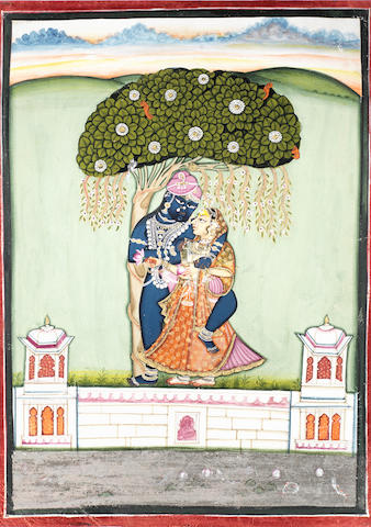 Sri Nath-Ji with Radha beneath a tree Kotah, late 18th Century