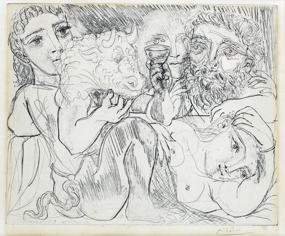 Pablo Picasso (Spanish, 1881-1973) Minotaure, Buveur et Femmes, from the Vollard Suite Etching, 1933, on laid, signed in pencil, from an edition of 50, 295 x 365mm (11 5/8 x 14 3/8in)(PL)