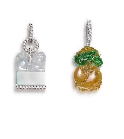 Two jadeite and diamond pendants (2)