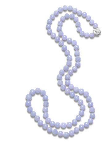 A jadeite bead and diamond necklace