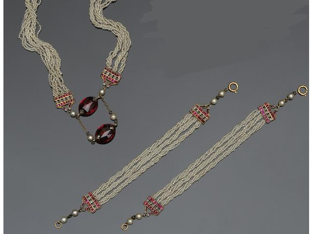An early 20th century ruby, synthetic ruby, diamond and seed pearl sautoir and double bracelet suite  (3)
