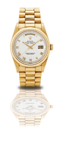 Rolex. An 18ct gold automatic calendar bracelet watchOyster Perpetual Day-Date, Ref:18238, Case No.W265893, Made in 1994