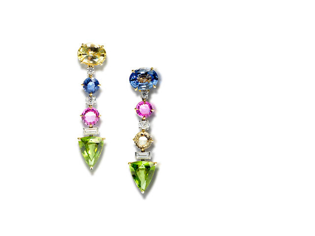 A pair of peridot, coloured sapphire and diamond earrings, by Bulgari