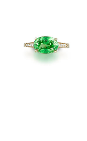 A tsavorite and diamond ring