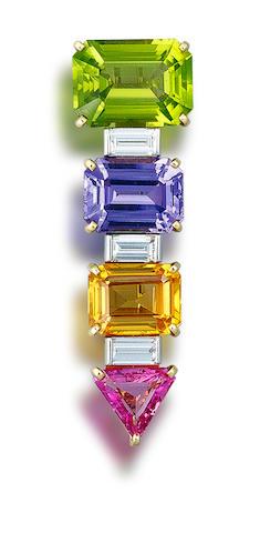 A diamond and gem-set brooch, by Bulgari