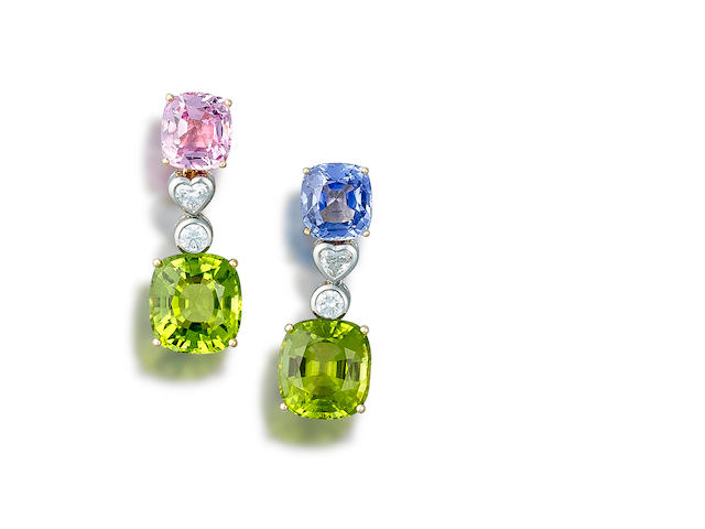 A pair of diamond and gem-set earrings