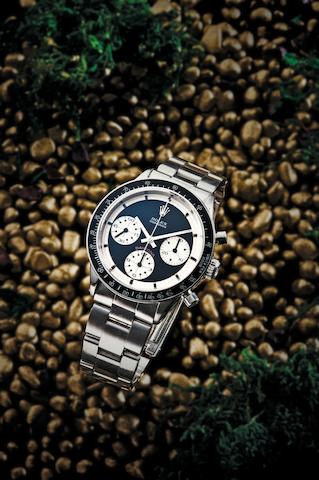 Rolex. A very fine and rare stainless steel chronograph manual wind bracelet watch Cosmograph Daytona, Paul Newman model, Ref:6241, Case No.1767378, Circa 1964