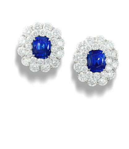 A pair of sapphire and diamond ear clips
