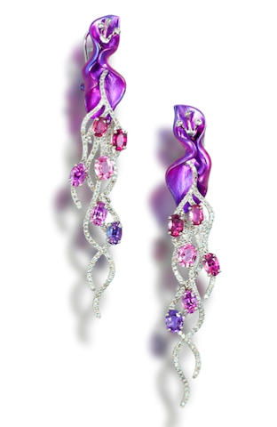 A pair of titanium, coloured sapphire and diamond earrings