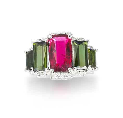 A rubellite tourmaline, tourmaline and diamond ring