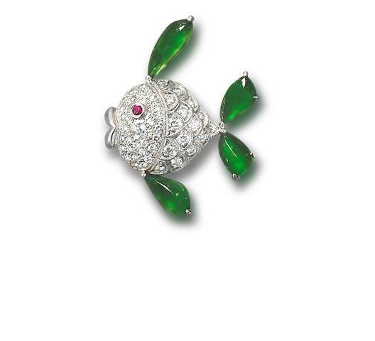 A jadeite, ruby and diamond brooch