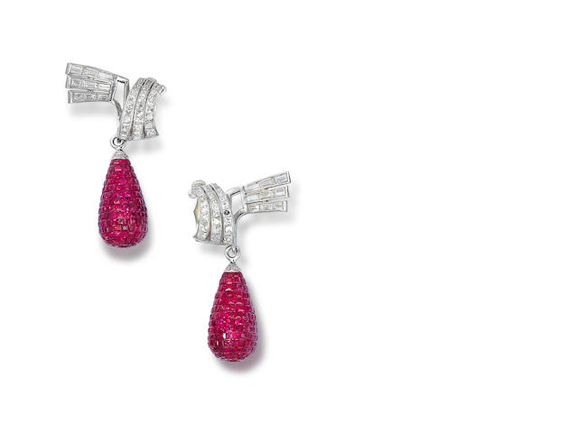 A pair of diamond and ruby ear clips