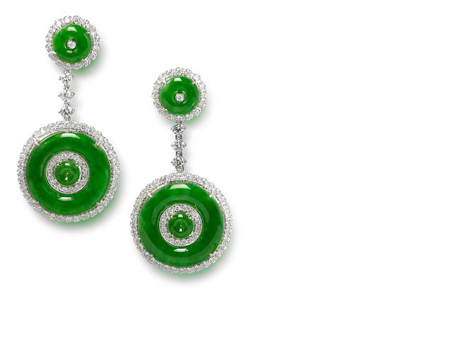A pair of jadeite and diamond earrings