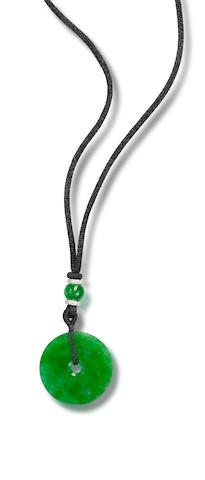 A jadeite and diamond hoop pendant
