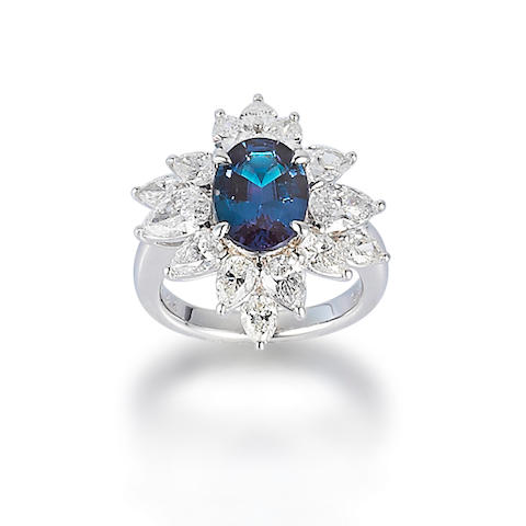 An alexandrite and diamond ring