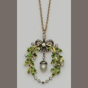 A pearl, diamond and enamel pendant