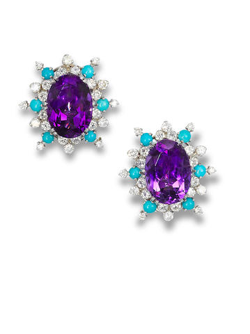 A pair of amethyst, diamond and turquoise ear clips