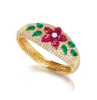 A gem-set and diamond bangle,  by Van Cleef and Arpels