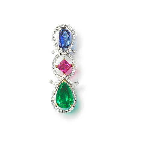 A diamond and gem-set pendant