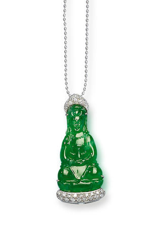 A jadeite Guan Yin and diamond pendant necklace