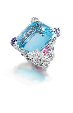 An aquamarine, diamond and gem set dress ring, by Dior