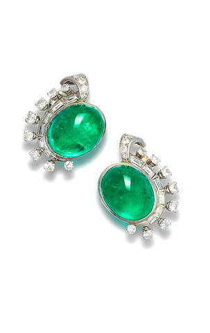 A pair of emerald and diamond ear clips, by Mauboussin