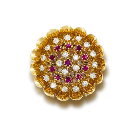A ruby and diamond brooch by Bulgari