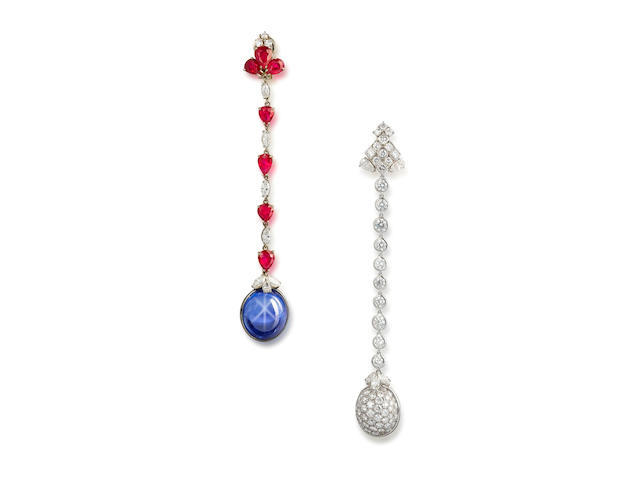 A pair of star sapphire, ruby and diamond earrings, by Bulgari