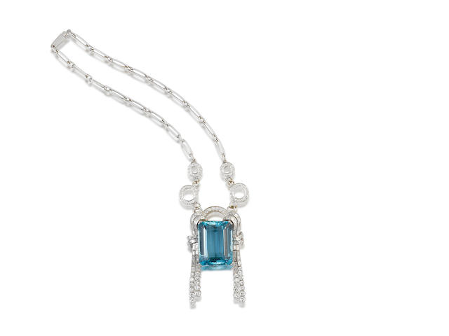 An aquamarine and diamond brooch, by Bulgari