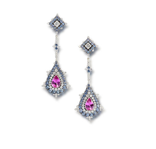 A pair of coloured sapphire and diamond earrings