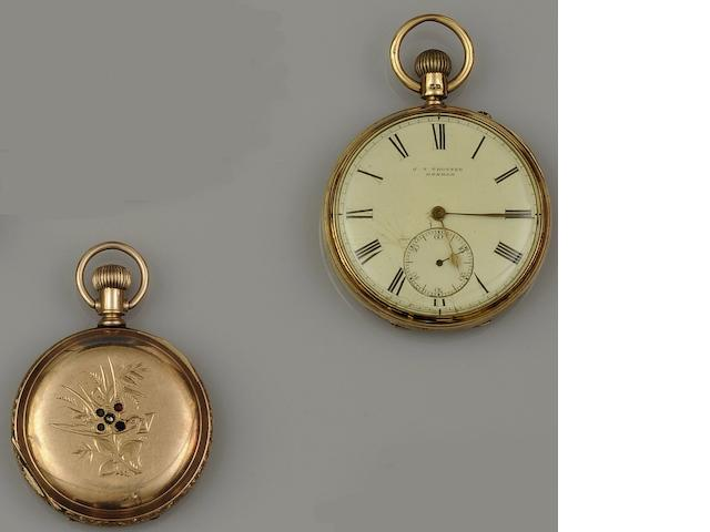 A late Victorian 18ct gold open face pocket watch (2)