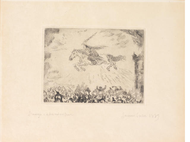 James Ensor (Belgian, 1860-1949) L'Ange Exterminator Etching and drypoint, 1889, on wove, signed, titled and dated in pencil, 115 x 155mm (4 1/2 x 6 1/8in)(PL)