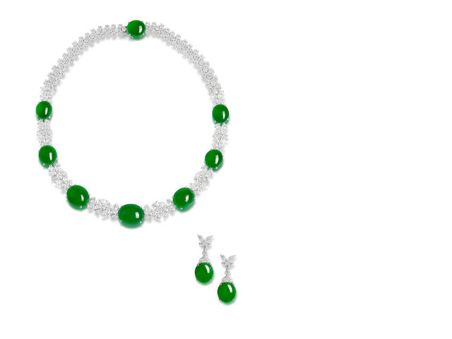 An important jadeite and diamond necklace and earring suite (2)