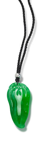 A jadeite and diamond pendant necklace