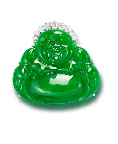 A jadeite and diamond Laughing Buddha pendant