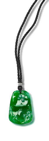 An impressive jadeite and diamond pendant