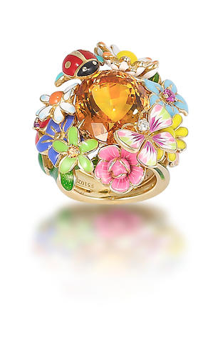A citrine, diamond and gem set dress ring, by Dior