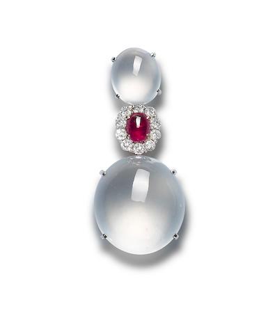 A jadeite, ruby and diamond pendant