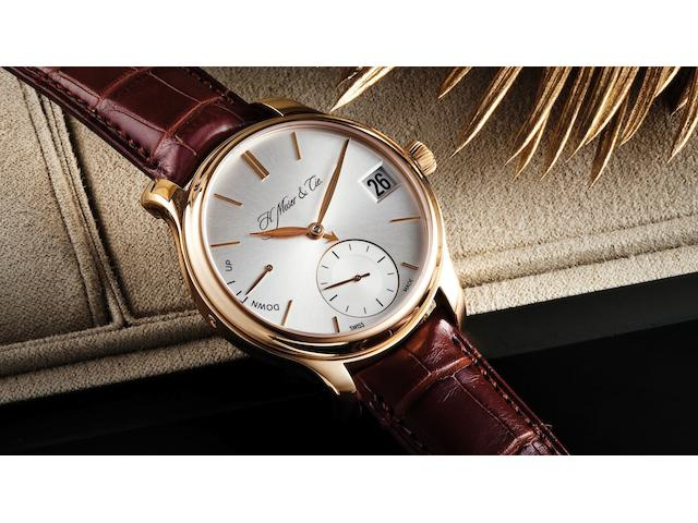 H. Moser & Cie. A very fine and very rare 18ct rose gold perpetual calendar manual wind wristwatchMoser Perpetual 1, Ref:341.501-004, No.200, Case No.100309, Recent